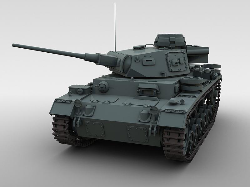 panzer 3 3d model 3ds max fbx obj 122615