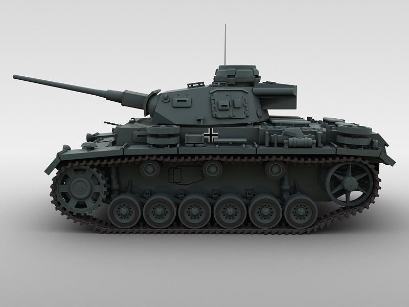 panzer 3 3d model 3ds max fbx obj 122616