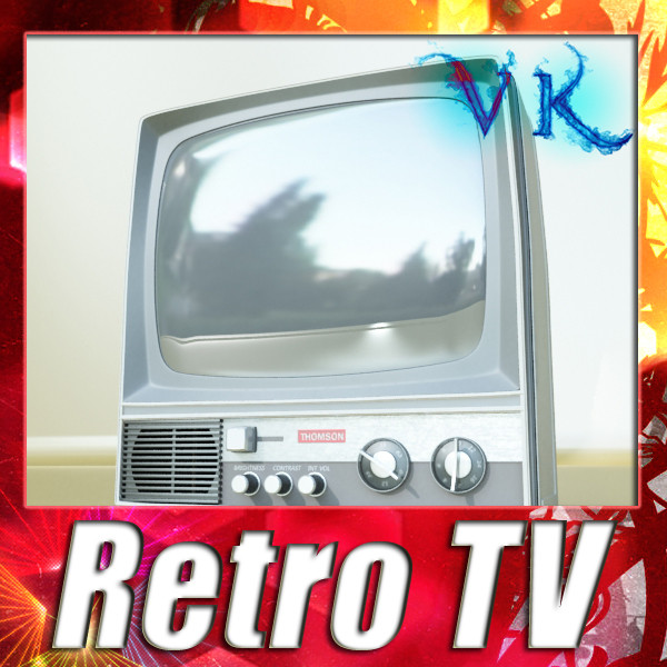 retro tv yüksək res 3d model 3ds max fbx obj 132332