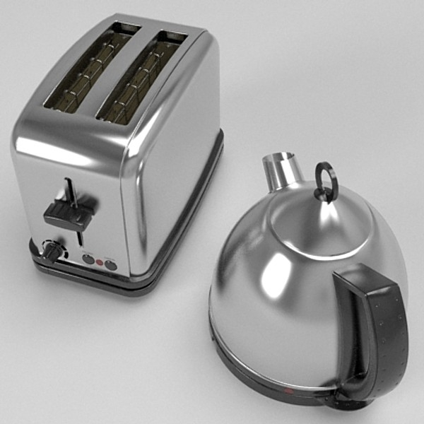 kettle & toaster set 3d model 3ds fbx skp obj 115145