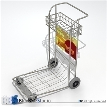 airport luggage cart 3d model 3ds dxf c4d obj 105566