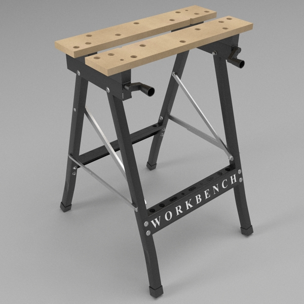 folding workbench 3d model 3ds fbx skp obj 122328