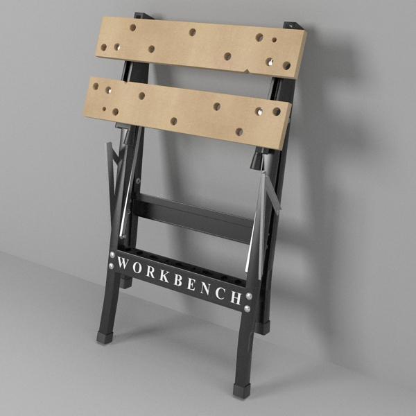 folding workbench 3d model 3ds fbx skp obj 122329