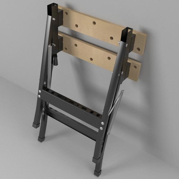 folding workbench 3d model 3ds fbx skp obj 122331