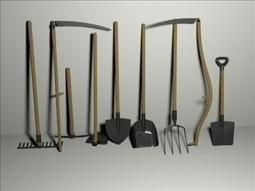 garden tools set 3d model 3ds blend obj 103648