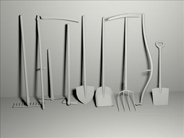garden tools set 3d model 3ds blend obj 103649