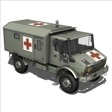 mercedes benz unimog belgian ambulance 3d model 3ds c4d lwo obj 105413