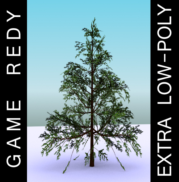 gameready low poly tree pack 1 (lawson's cypress) 3d model 3ds max fbx c4d x ma mb texture obj 129576