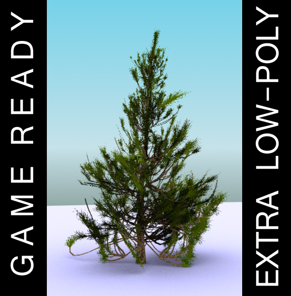 gameready low poly tree pack 2 (aleppo pine) 3d model 3ds max fbx c4d x ma mb texture obj 131671