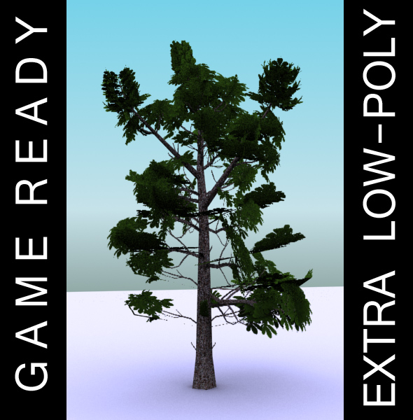 gameready low poly tree pack 3 (kasztanowiec) 3d model 3ds max fbx c4d x ma mb texture obj 150946