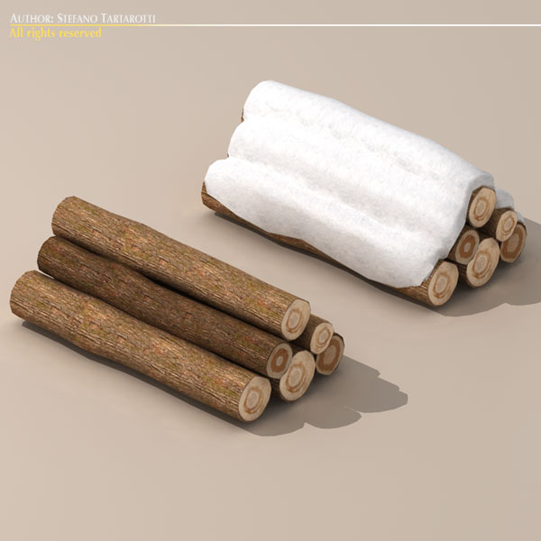 logs with snow 3d model 3ds dxf fbx c4d dae 118689