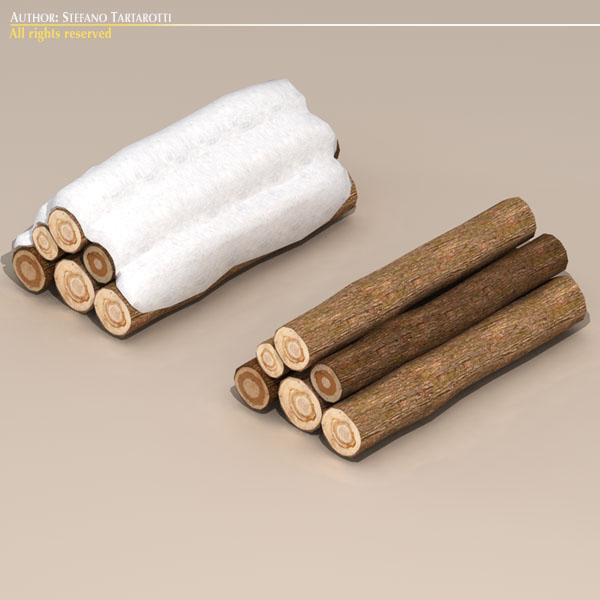 logs with snow 3d model 3ds dxf fbx c4d dae 118690