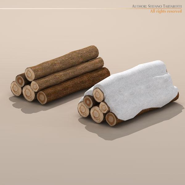 logs with snow 3d model 3ds dxf fbx c4d dae 118692
