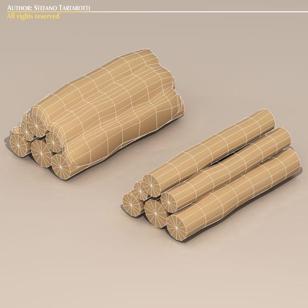 logs with snow 3d model 3ds dxf fbx c4d dae 118693