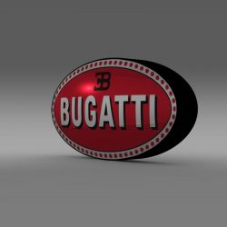 Bugatti Logo 3d model augmented reality high poly 3ds max fbx c4d lwo lws lw ma mb  obj