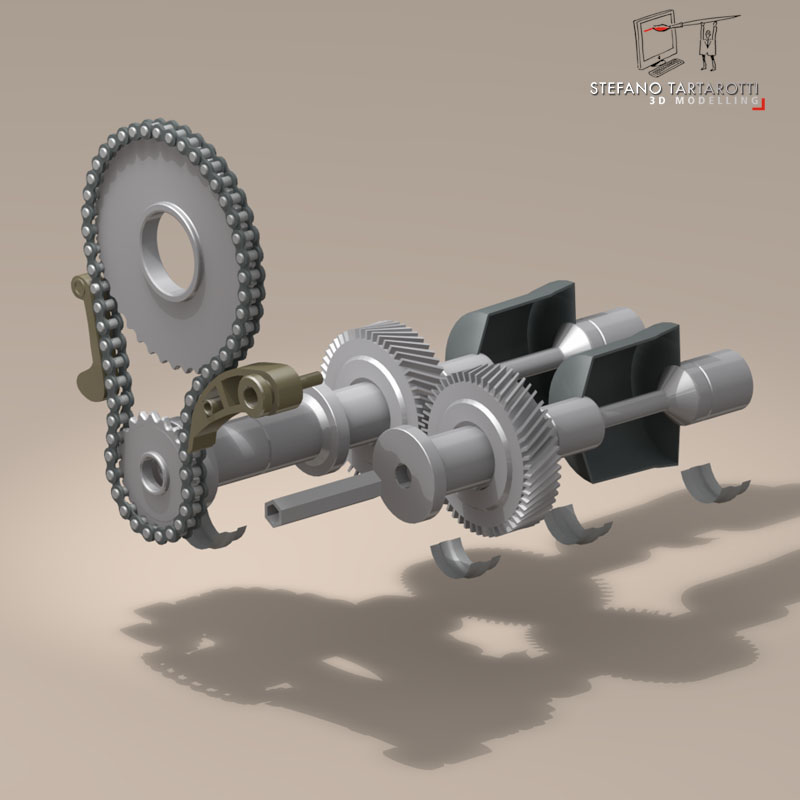 driveshaft gear and sprocket assembly 3d model 3ds dxf fbx c4d obj 145897