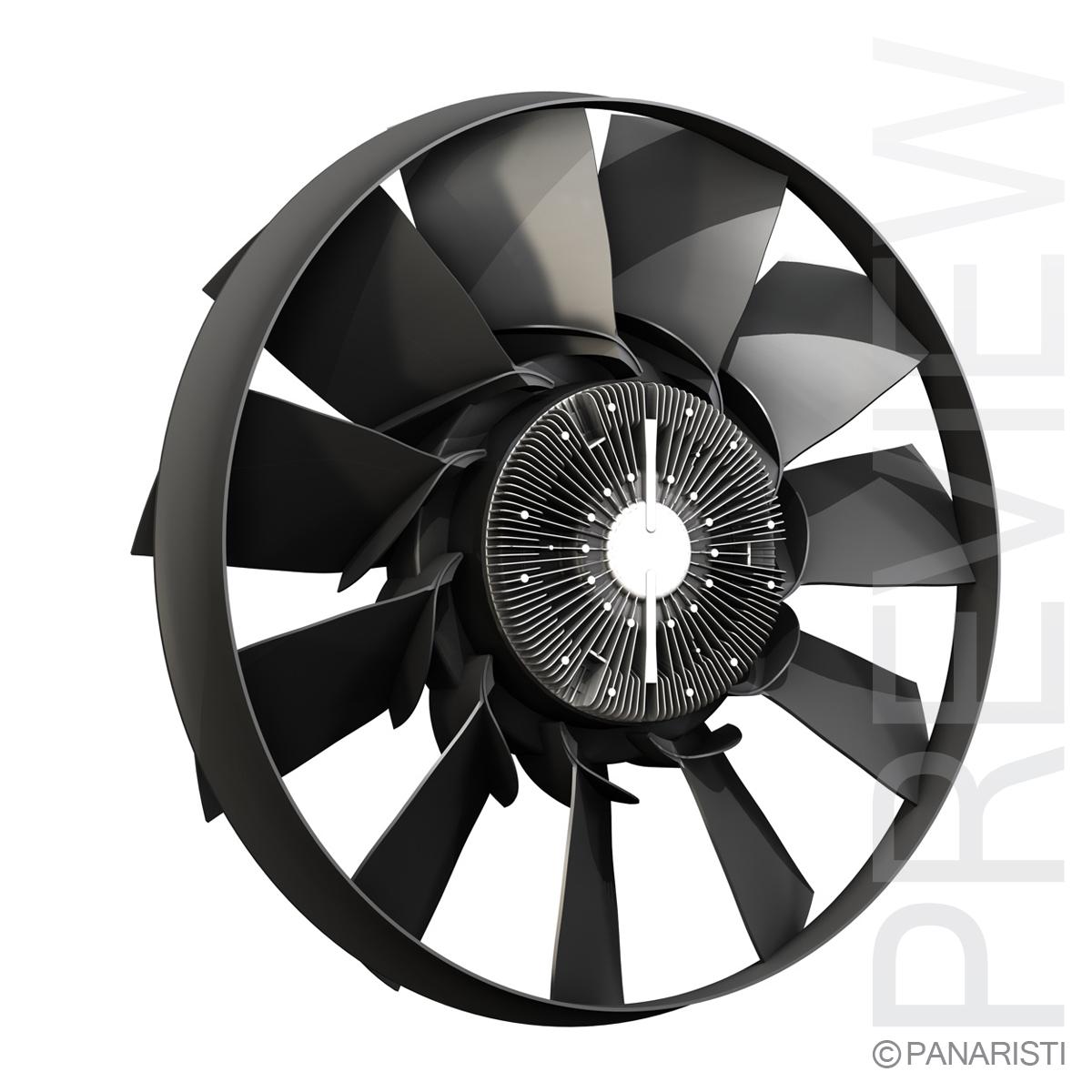 engine cooling fan 2 3d model 3ds c4d lwo obj 129278