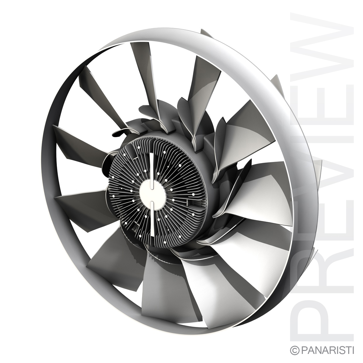 engine cooling fan 2 3d model 3ds c4d lwo obj 129281