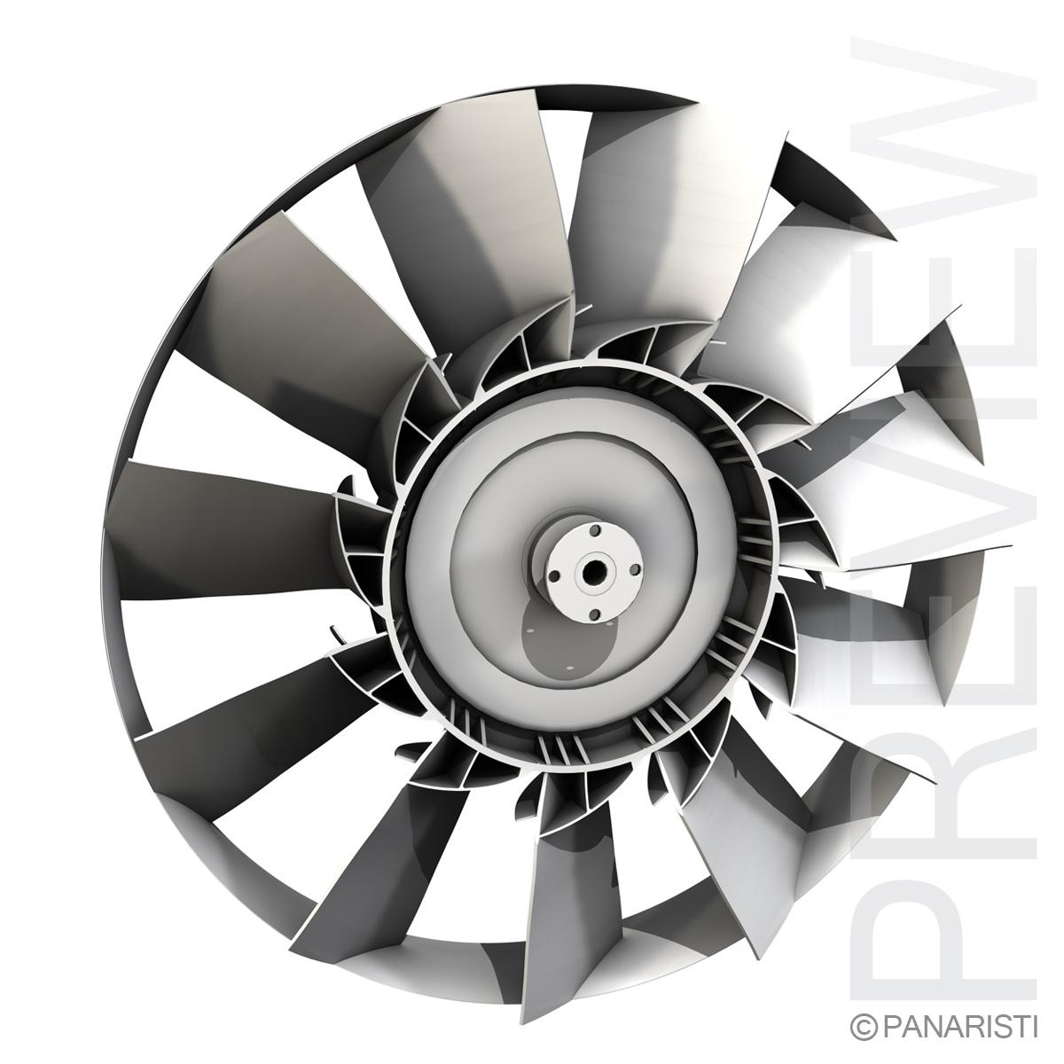 engine cooling fan 2 3d model 3ds c4d lwo obj 129282
