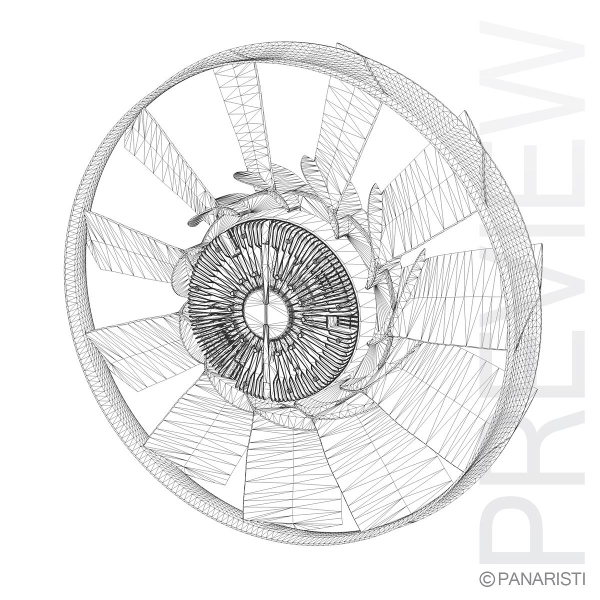 engine cooling fan 2 3d model 3ds c4d lwo obj 129283