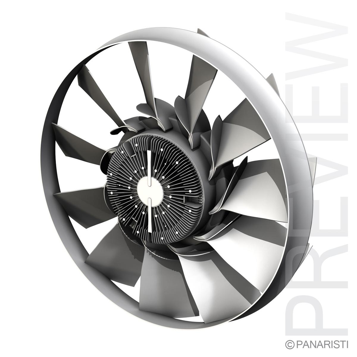 Engine cooling fan 2 3d model 3ds c4d lwo lws lw obj 129281