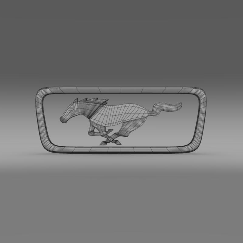 ford mustang pony logo 3d model 3ds max fbx c4d lwo ma mb hrc xsi obj 124560