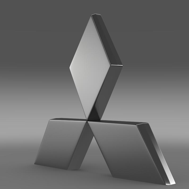mitsubishi logo 3d model flatpyramid