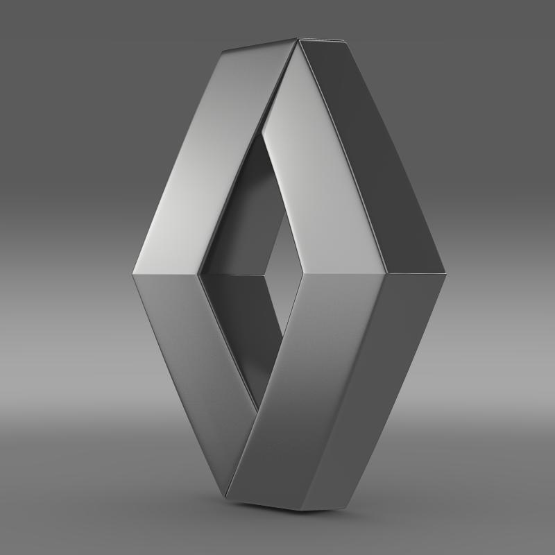 renault logo 3d model 3ds max fbx c4d lwo ma mb hrc xsi