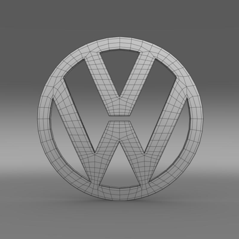 volkswagen logo 3d model 3ds max fbx c4d lwo ma mb hrc xsi obj 117427