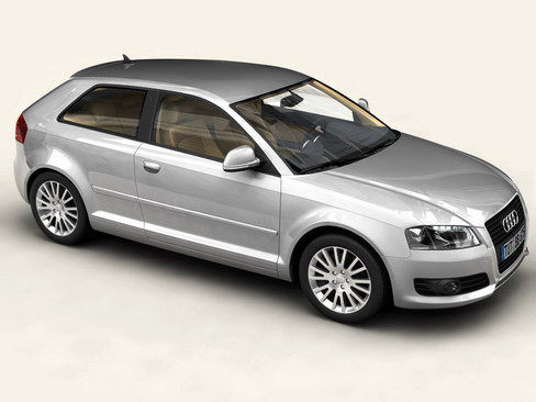 audi a3 3 door 2009 3d model 3ds max lwo obj 113773