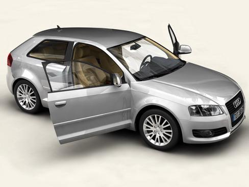 Audi a3 3 door 2009 3d model 3ds max lwo obj 113776