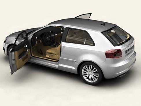 Audi a3 3 door 2009 3d model 3ds max lwo obj 113777