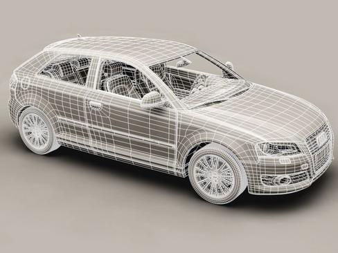 Audi a3 3 door 2009 3d model 3ds max lwo obj 113781