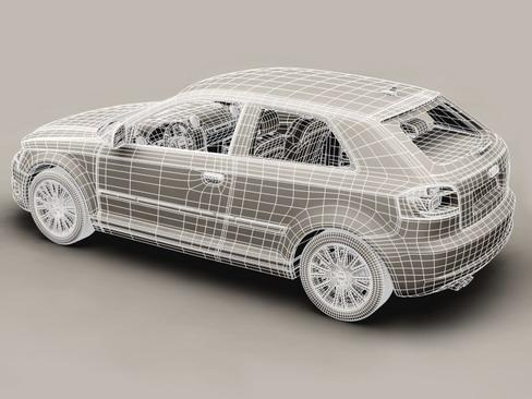 Audi a3 3 door 2009 3d model 3ds max lwo obj 113782
