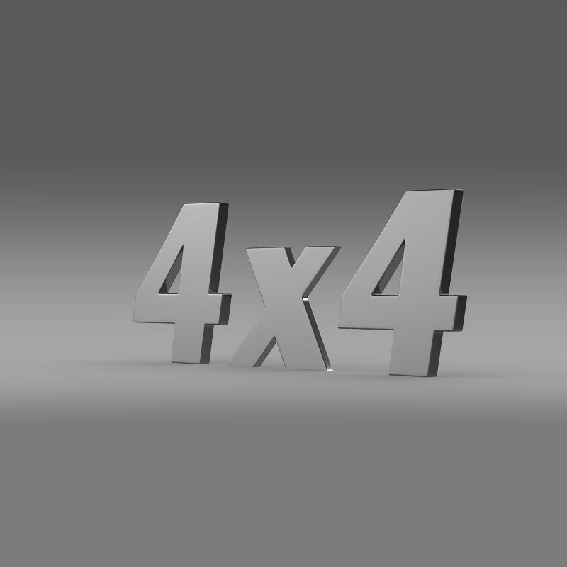 4 × 4 logo 3d model 3ds max fbx c4d am fwy o wybodaeth xNUMX
