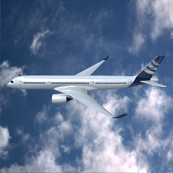airbus a350-900 commercial aircraft 3d model 3ds fbx blend dae lwo obj 163414