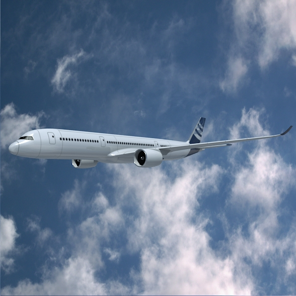 airbus a350-900 commercial aircraft 3d model 3ds fbx blend dae lwo obj 163418