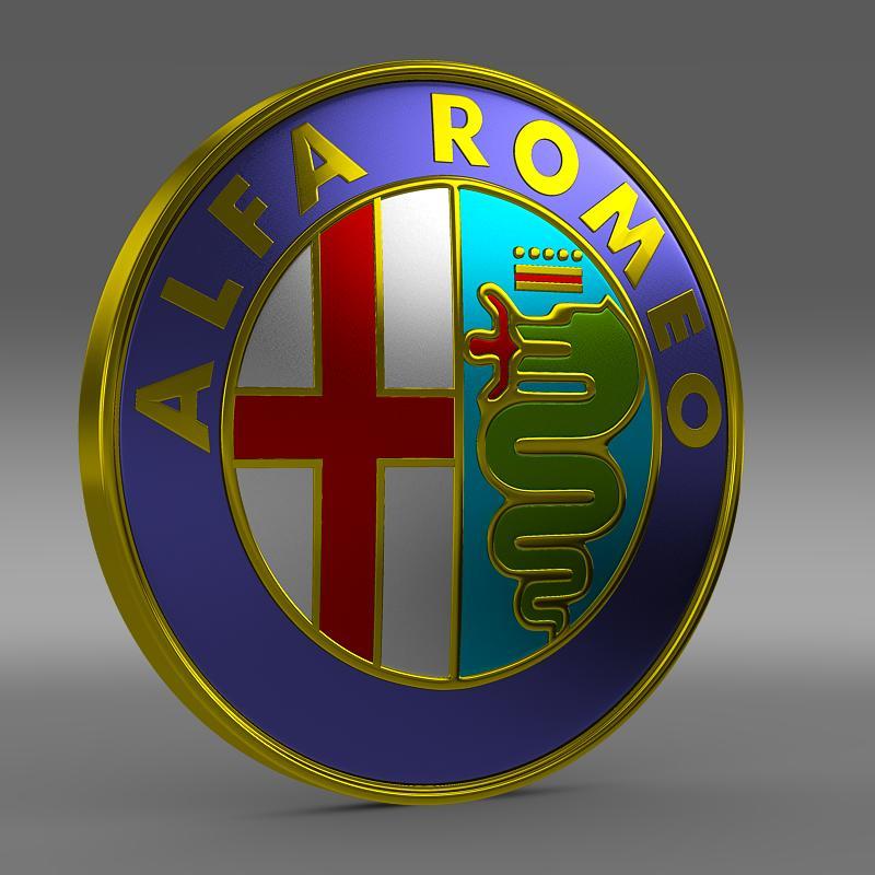 alfa romeo logo 3d model 3ds max fbx c4d lwo ma mb hrc xsi obj 119001