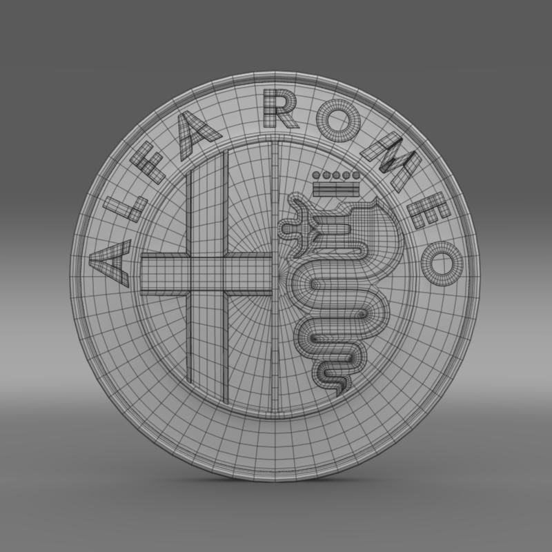 alfa romeo logo 3d model 3ds max fbx c4d lwo ma mb hrc xsi obj 119005