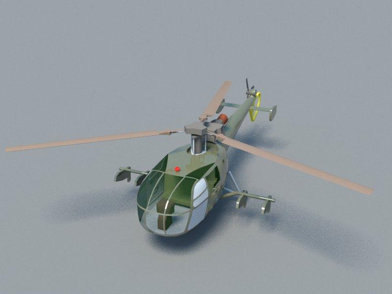 alouette 3d model 3ds dxf dwg skp obj 163721