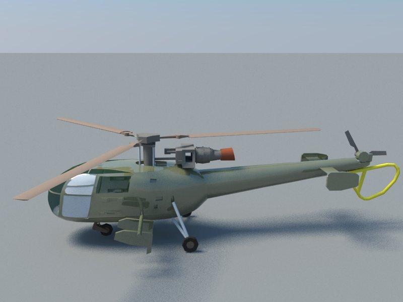 alouette 3d model 3ds dxf dwg skp obj 163722