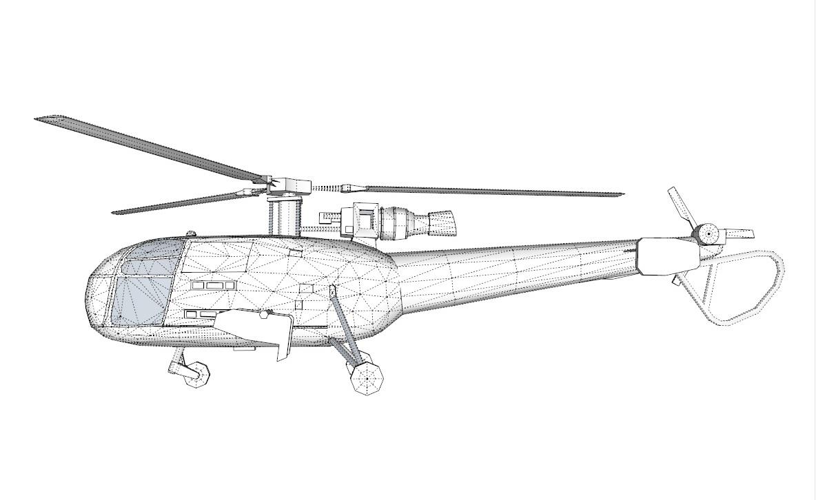 alouette 3d model 3ds dxf dwg skp obj 163723