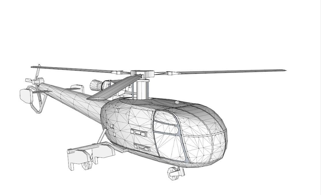 alouette 3d model 3ds dxf dwg skp obj 163724
