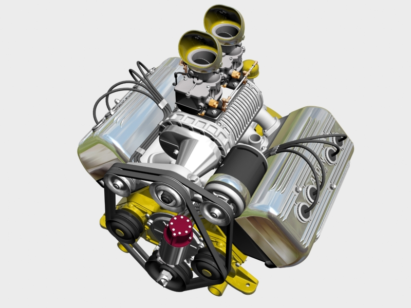 ardun s.co.t. blower v8 engine 3d model 3ds 136382