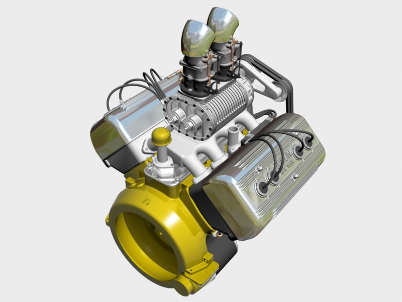 ardun s.co.t. blower v8 engine 3d model 3ds 136383