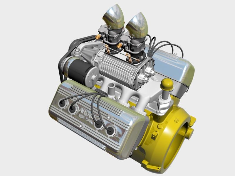 ardun s.co.t. blower v8 engine 3d model 3ds 136384