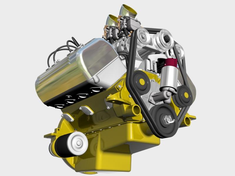 ardun s.co.t. blower v8 engine 3d model 3ds 136386