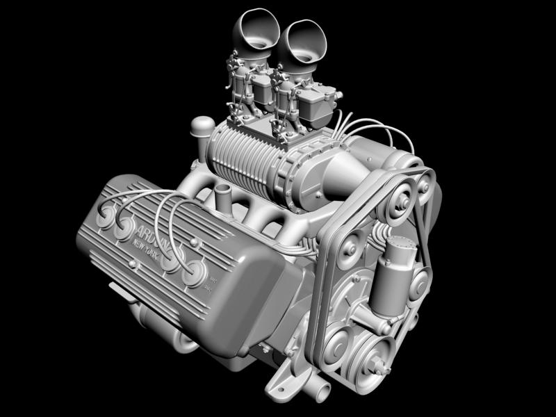 ardun s.co.t. blower v8 engine 3d model 3ds 136388