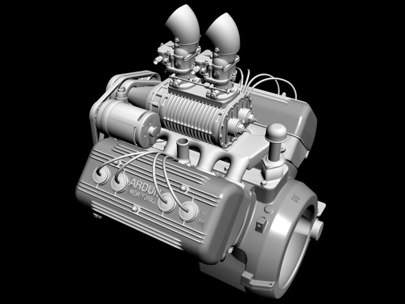 ardun s.co.t. blower v8 engine 3d model 3ds 136389