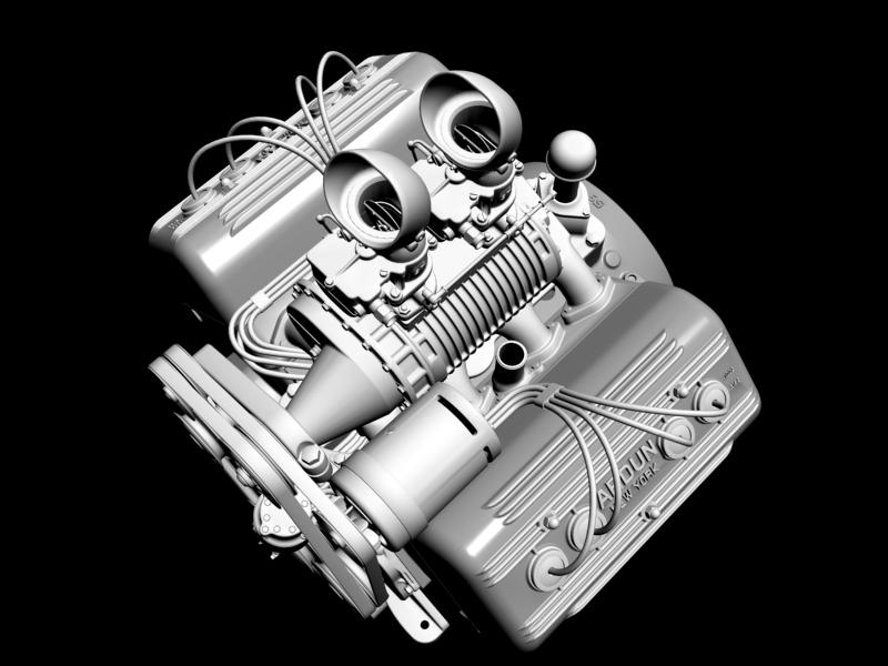 ardun s.co.t. blower v8 engine 3d model 3ds 136390